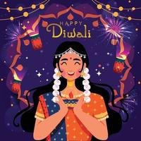 A Woman Celebrating Happy Diwali vector
