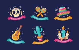 Dia De Los Muertos Cute Icon Set vector
