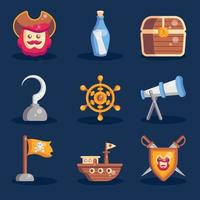 Children Pirates Icon Collections vector