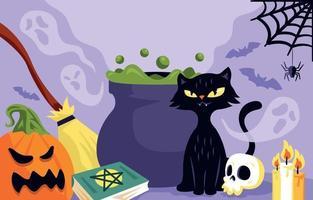 fondo de brujería de halloween vector