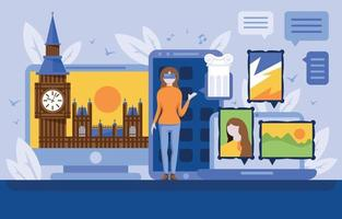 Virtual Tourism Concept Illustration vector