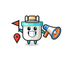 Character cartoon of electric plug as a tour guide vector