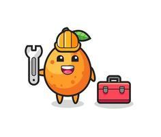 Mascot cartoon of kumquat as a mechanic vector