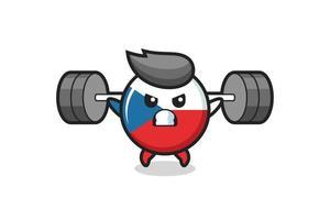 Dibujos animados de la mascota de la insignia de la bandera checa con una barra vector