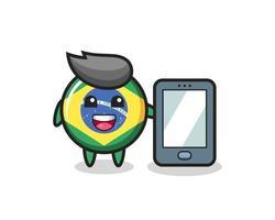caricatura de ilustración de insignia de bandera de brasil sosteniendo un smartphone vector