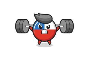 Dibujos animados de la mascota de la insignia de la bandera de Chile con una barra vector