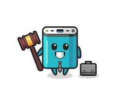 Illustration of power bank mascot as a lawyer vector