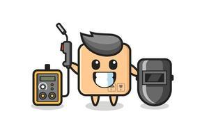 Character mascot of cardboard box as a welder vector