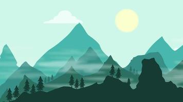 fundo dos desenhos animados - silhueta da névoa da montanha video