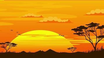 fundo de desenho animado - pôr do sol da savana africana video