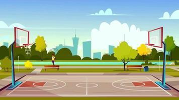 fundo de desenho animado - quadra de basquete no parque da cidade video