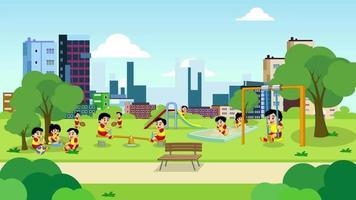 Cartoon Background - City Park Playground with Kids video