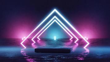 futuristic podium display with neon light background video