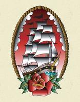 ship old school tattoo vector