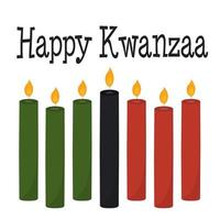 Happy Kwanzaa greeting card with 7 candles in traditional colors vector