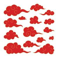 Set of traditional oriental Japanese red swirled clouds golden outline vector
