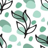 Seamless pattern background with black ink floral leaves doodle vector