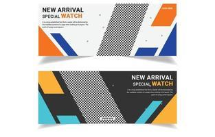New arrival smart watch banner template design. vector