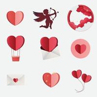Love Papercut Style Icon Elements Set vector