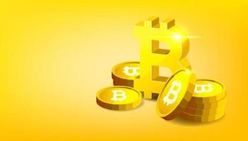 Bitcoin. Physical bit coin. Digital Cryptocurrency. vector