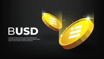 Binance USD BUSD banner. BUSD Coin digital stablecoin banner. vector