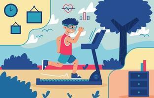 Virtual Run with Treadmill Concept vector
