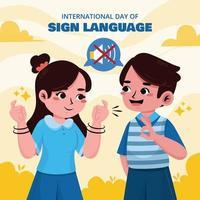Couple Discuss using Sign Language vector