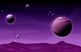 Satellite Planet Star Sky Space Universe Exploration Illustration vector