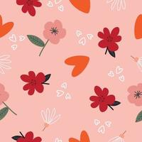 Seamless hand drawn paint floral pattern background vector