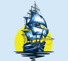 ship pirate art vector