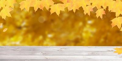 Autumn leaves background with copy space photo