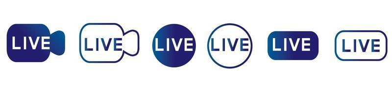 Live streaming icons set. Live video broadcasting symbols. vector