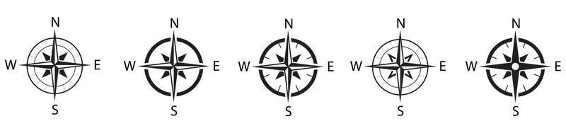 Compass simple icon set. Compass symbol set. Wind rose icon. Vector