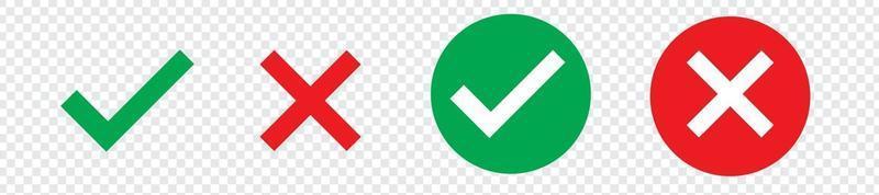 Green check mark, red cross mark icon set. Isolated tick symbols, vector