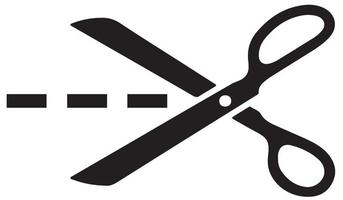 Scissors with cut lines. Vector illustration.