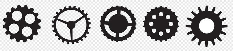 Gear setting vector icon set. Isolated black gears mechanism and cog