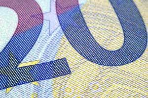 Detail of the number 20 in a 20 euro banknote. photo