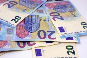 Cash, 20 Euro bills. 20 Euro banknotes money photo