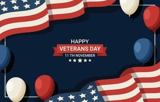 Veterans Day Background with Balloon and Flag vector