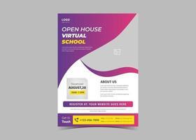 Open house virtual school flyer template design. vector