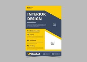 Interior design flyer template vector
