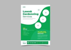 Lawn and gardening service flyer design template vector