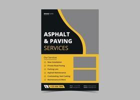 Paving service construction work flyer design template vector