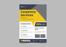 Carpentry service flyer design template vector