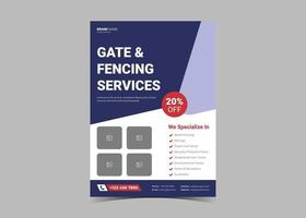 Fence service flyer template. vector