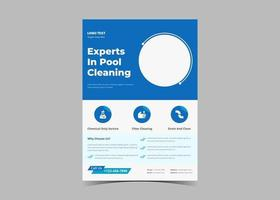 Swimming pool cleaning service flyer template. vector
