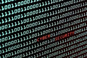 Cyber Security text and binary code photo