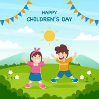 Happy Children's Day with Kids in Outdoor vector