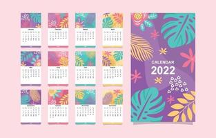 Calendar Template 2022 with Floral Elements vector