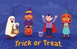Kids Play Trick Or Treat On Halloween Day vector